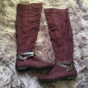 Burgundy suede thigh high boots